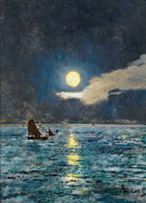 Fishing-Boats-in-the-Moonlight-Alfred-Emile-Leopold-Stevens-Oil-Painting-768x1063